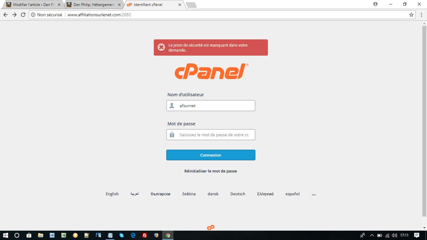 L'espace Cpanel pour installer WordPress