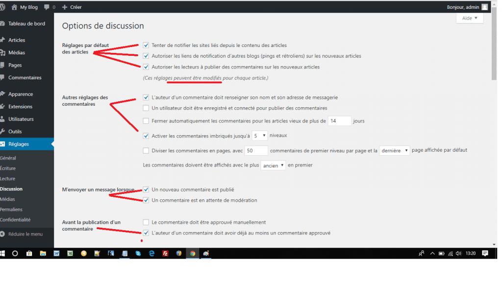 """Les bons réglages WordPress-""""Discussion"""""""