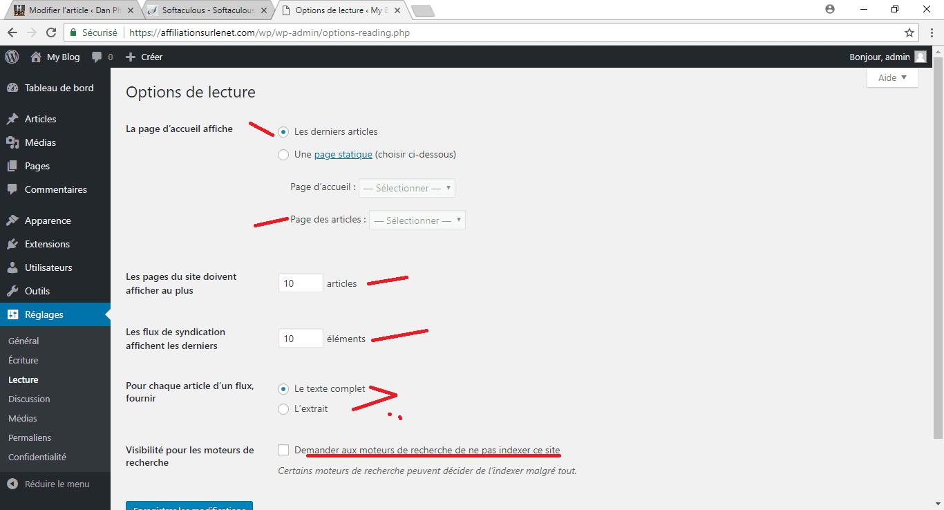 """les bons réglages sur WordPress menu """"Lecture"""""""