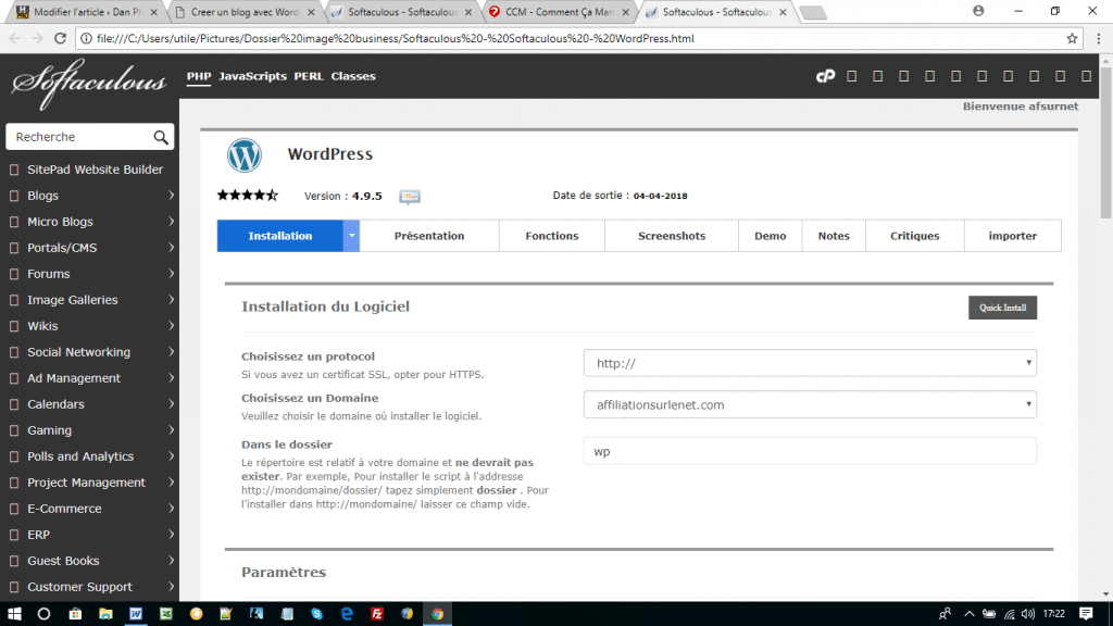 softaculous-Installation WordPress