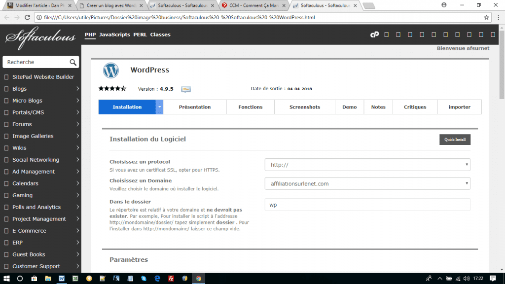 softaculous-Installation WordPress