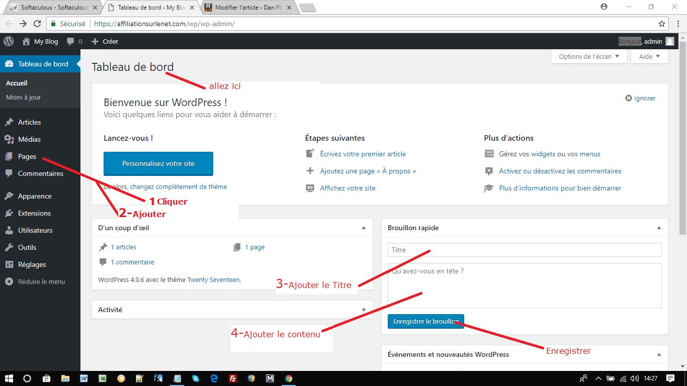 Pages de contenu-Wordpress